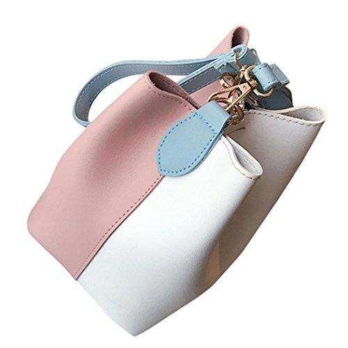 sunnymi Mode Frauen Leder ★ Eimer Tasche ★Neue Visuelle Auswirkungen/Schräge Querschultertasche/Wide Handtasche Patchwork Schulter (Rosa) -