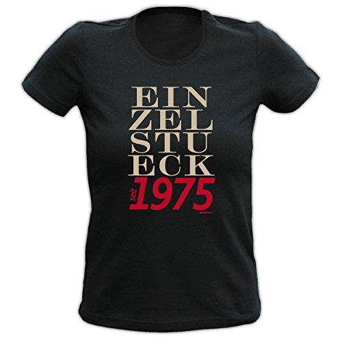 4Girls Damen T-Shirt <->          Einzelstück seit 1975          <->           Fun Geschenk, Goodman Design® Schwarz