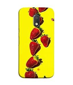 PrintVisa Yummy Straeberries 3D Hard Polycarbonate Designer Back Case Cover for Moto G Play (4th Gen) :: Motorola Moto G4 Play