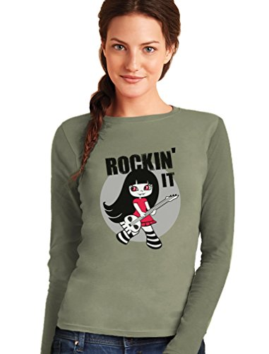 Rockin'it - Vampire Punk Rock Girl Cool T-shirt Manches longues Femme Vert olive