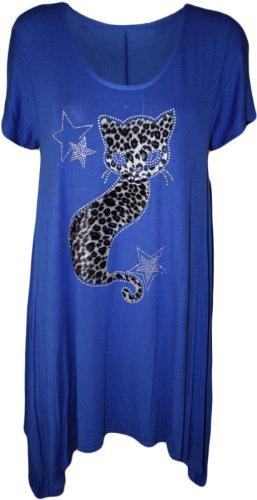 WearAll Donna Plus Dimensioni gatto a lobo a maniche corte da donna orlo a fazzoletto t-shirt tunica top–Misure 14–28 Blue