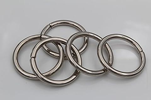 Hartmann-Knöpfe 5 Metall-Ringe, Eisenringe vernickelt, zum Nähen oder Basteln, 40mm (Innenmaß), kleine Öffnung, Vollmetall, silberfarben ca.4mm dick (5 (Nähen Ringe)