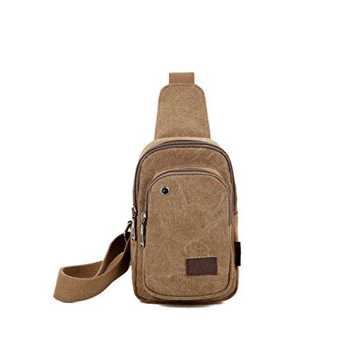BULAGE Taschen Männer Brusttaschen Im Freien Erholung Leinwand Schulter Diagonal Lässig Kopfhöreranschluss Einzigartig Jugend,Khaki-OneSize (Khaki Jugend Leinwand)