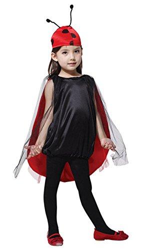 DEMU Kinder Mädchen Marienkäfer Kostüm für Halloween Karneval L(120-130)