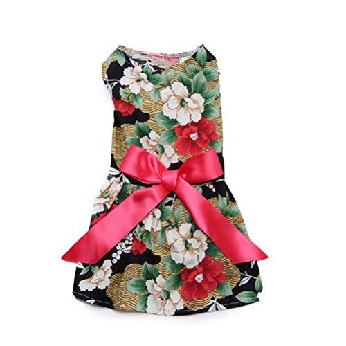 Feidaeu Haustier-Kleidungs-Kleid-Blumen-Kleid-Eleganter Blumendruck-Bogen-Band-Welpen-Chihuahua-Prinzessin Rock-KostüM