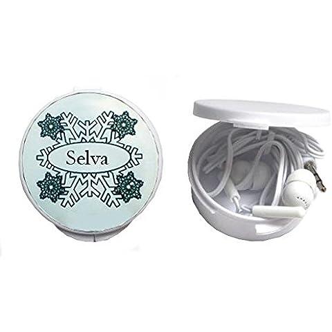 Auriculares in-ear en una caja personalizada con Selva (ciudad / asentamiento)