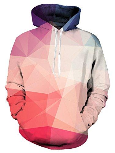 Idgreatim Langer Hoodie damenkinder Slim Fit Kapuzenpulli 3D Druck Sweatshirt