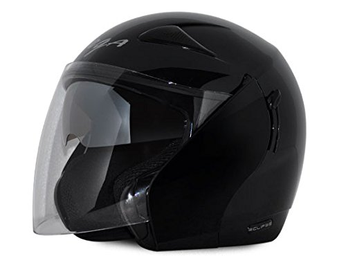 Vega Eclipse ECL-K-M Open Face Helmet with Double Visor (Black, M)