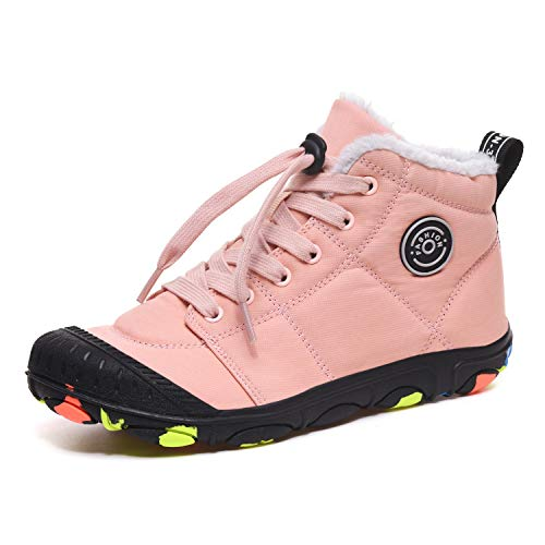Boys Boots Kids Winter Shoes Girls Fur Lined Snow Boots Walking Hiking Warm Shoes Slip-on Ankle Boots Outdoor Size