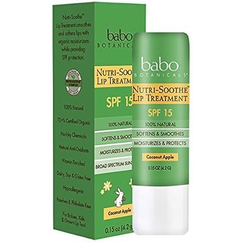 Babo Botanicals - labio calmar Nutri tratamiento coco manzana 15 SPF - 0,15 oz.