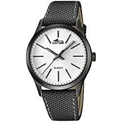Lotus Men's Quartz Watch with White Dial Analogue Display and Grey Leather Strap 18165/1