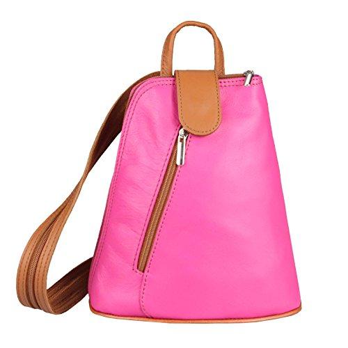 OBC Damen echt Leder Rucksack Schultertasche Stadtrucksack Backpack Handtasche Organizer Daypack Tablet bis ca. 8 Zoll Leder 22x23x12 Pink