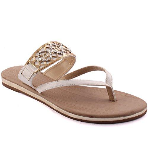 Unze New Women 'Alan' Toe Post Détail en métal Summer Beach Party Get Together Carnaval Casual Flat Slip Sur Sandales Chaussures Grande-Bretagne Taille 3-8 Blanc