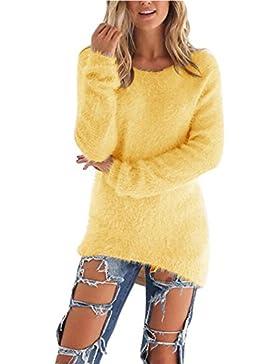 Coversolate Las Mujeres de Manga Larga de Punto Jersey Suéter Suelto Jumper Tops de Punto (L, Amarillo)