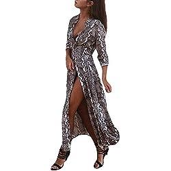 ❤️ Vestido Largo Mujer Piel de Serpiente, Mujeres V Cuello Serpiente Piel Estampado Dividir Vestido Maxi Damas Dividir Holiday Holiday Beach Dress Absolute