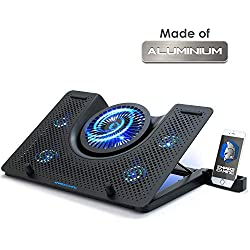 EMPIRE GAMING - Turboost Refroidisseur PC Ordinateur Portable Gamer en Aluminium - 5 Ventilateurs - Support ventilé 12 à 17 Pouces - 5 Hauteurs - Rétro LED Bleu
