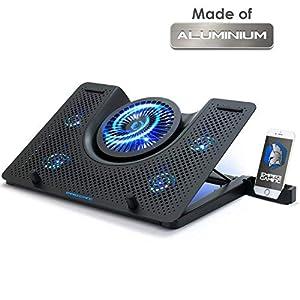 418Lyyk3tuL. SS300  - EMPIRE GAMING Turboost - Kühler für Gamer Laptop - Aluminium - Kühlung Pad kompatibel mit 12 bis 17 Zoll-5 - leise Ventilatoren-5 ergonomisch einstellbare Höhen-Blaue LED-USB
