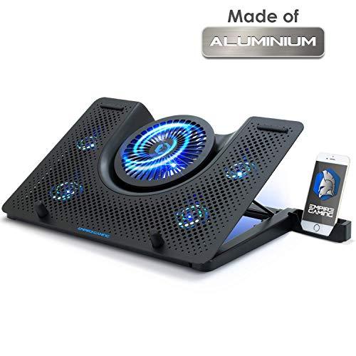 EMPIRE GAMING Turboost - Refroidisseur PC Ordinateur Portable Gamer - Support Ventilé de 12 à 17 Pouces - 5 Ventilateurs Puissant Silencieux - 5 Hauteurs Réglables - Rétro LED Bleu