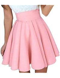 ca9bba97cb CANDLLY Faldas de Fiesta Mujeres Elegante Faldas Lisas Falda Corta Guapa  Muchos Colores Vestido para Chicas