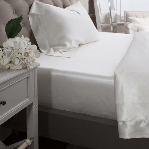 Jasmine Silk 100% Maulbeere 19MM Charmeuse Seide Spannbettlaken/ Bettlaken (Elfenbein) - SINGLE 90cm x 190 cm + 26 cm (Maulbeere-seide-stoff)