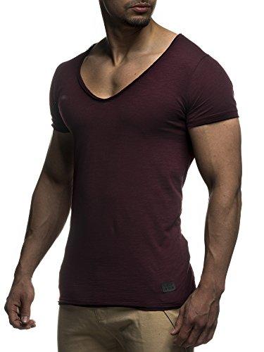LEIF NELSON Herren oversize T-Shirt tiefer V-Ausschnitt Shirt Basic LN6280 Bordeaux
