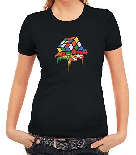 e6bbec77c3fa ShirtStreet Zauberwürfel Damen T-Shirt mit Magic Cube Melting Motiv, Größe   L,