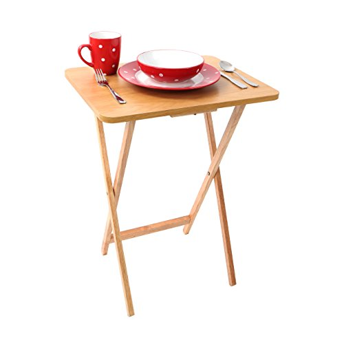 Premier Housewares Folding Snack Table - Natural Wood