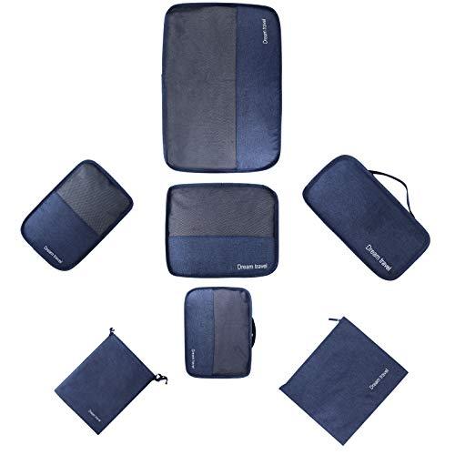 HOKEMP Set 7 Kleidertaschen Gepäck Organizer Packtaschen - Kation Oxford Tuch Koffer Organizer Reisetasche Packwürfel(Navy blau)