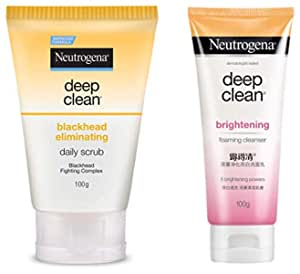 Neutrogena Deep Clean Blackhead Eliminating Daily Scrub, 100g And Neutrogena Deep Clean Brightening Foaming Cleanser, White, 100 g