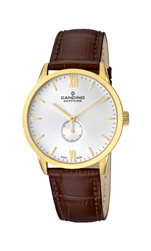 Candino-Mens-Quartz-Watch-with-White-Dial-Analogue-Display-and-Brown-Leather-Strap-C44712