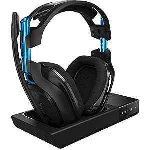 ASTRO A50 Wireless Gaming-Headset + Basisstation, 3. Generation, 7.1 Dolby Surround Sound, 5 GHz Verbindung, 15+ Akkulaufzeit, Leichtgewicht, Robust, Mod-Kit Kompatibe, PC/Mac/PS4 – schwarz/blau