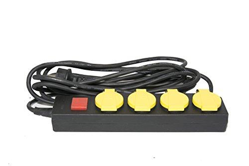 Mehrfachsteckdose - Outdoor 4 fach Steckdosenleiste mit Kindersicherung und Schalter schwarz (5 m Kabel)