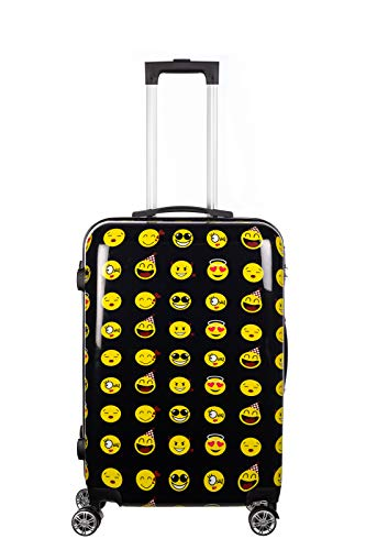 Birendy Reisekoffer Polycarbonat Hartschalen Hardcase Trolley mit Zahlenschloss Koffer Kofferset 4 Rollen einfacher Transport (A6-Emoji schwarz, Koffer XXL 74x48cm)