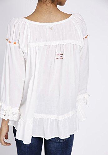 Khujo Chemisier - Uni - Manches 3/4 - Femme Weiß