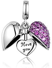 GW plata de ley 925amor corazón cuenta para pulsera Europea Fit pulseras, collar/cadena de serpiente mejor regalo para mamá/hija/novia/esposa...