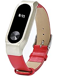 Malloom Reemplazo de cuero pulsera correa para Xiaomi Mi Band 2 Smartband (rojo)