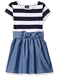 French Toast Girls' Knit To Woven Dress