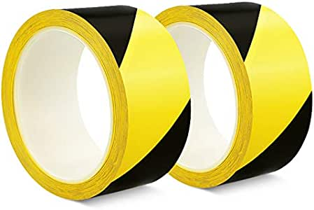 SACONELL 2 Pack Safety Tapes 48mm/×20m Black//Yellow Hazard Warning Tape Adhesive Marking Barrier Tape