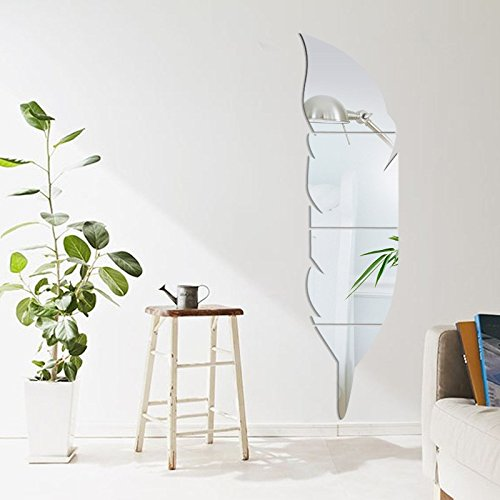 Specchi Decorativi Da Parete.Soloo Specchi Decorativi Adesivi Da Parete A Forma Di Piuma Per