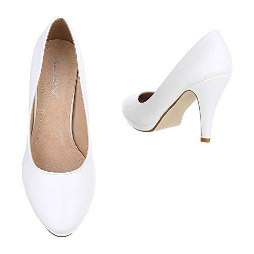 High Heel Damenschuhe Plateau Pfennig-/Stilettoabsatz High Heels Ital-Design Pumps Weiß
