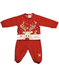 Gorgeous Red Velour Reindeer Two Piece Set By Zip Zap Size 3-6 Months