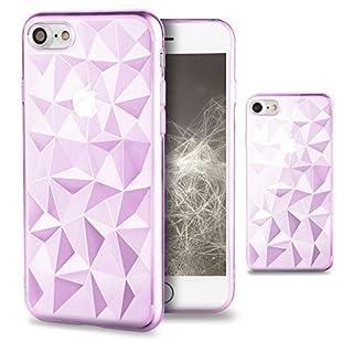 Moozy Silikon Hülle für iPhone 7 / iPhone 8, Transparent Rosa - TPU Texturiert 3D Geometrisches Prism Design Schutzhülle Case