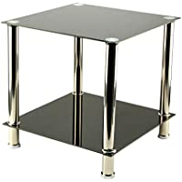 KingSaid Modern 2-Tier Glass Shelving Rack/Side End Table Furniture Lamp Coffee Table Black
