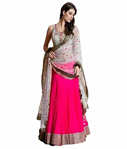 Super Deal Woman\'s Pink Georgette Anarkali Semi-stitched Lehenga Choli (Indian Traditional Ghaghra Choli)