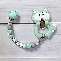 Schnullerkette mit Wunsch-Namen 3d-Frosch Minigreifring Junge oder Mädchen Baby