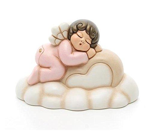 Thun  - angelo su nuvola rosa grande - bomboniera bimba rosa - ceramica - 25 cm l - linea i classici
