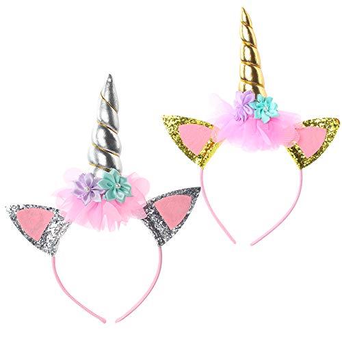 (Lalacolorful 2 Stück Einhorn Gold Horn Stirnband Haarband Kopfschmuck Blumenmädchen Haarschmuck Regenbogen Geburtstag Party Favors Dress Cosplay (A))
