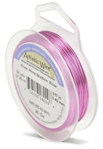 Artistic Wire Beadalon Fil de cuivre Calibre 26 27,43 m Câble plaqué argent/Rose
