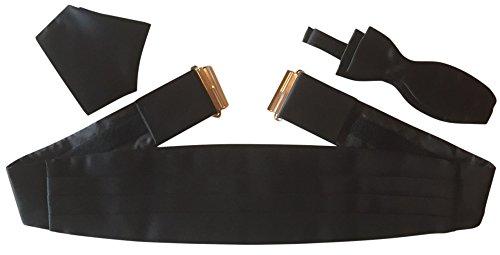 Gentleline Kummerbund-Set XL, schwarz, Fliege zum Selberbinden