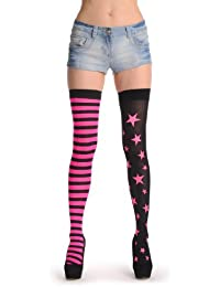 One Leg With Pink Starts & One Leg With Stripes - Rose Bas Auto-fixants Taille Unique (34-42)
